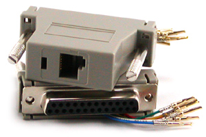 RJ11/RJ12 to DB25M Modular Adapter