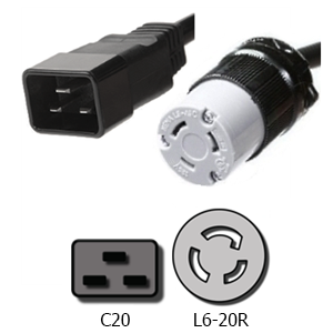 12AWG SJT 1ft C20 to L6-30R Power Cable